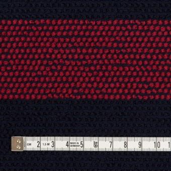 ウール&アクリル混×ボーダー(アガット&ダークネイビー)×かわり織_全2色 サムネイル4