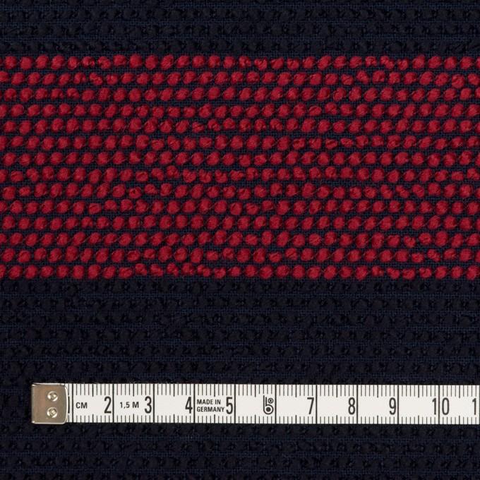 ウール&アクリル混×ボーダー(アガット&ダークネイビー)×かわり織_全2色 イメージ4