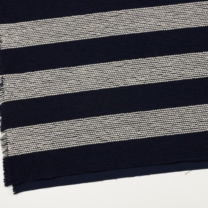 ウール&アクリル混×ボーダー(アイボリー&ダークネイビー)×かわり織_全2色 イメージ2