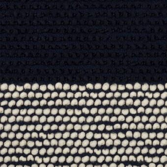 ウール&アクリル混×ボーダー(アイボリー&ダークネイビー)×かわり織_全2色 サムネイル1