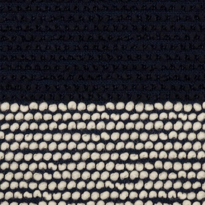 ウール&アクリル混×ボーダー(アイボリー&ダークネイビー)×かわり織_全2色 イメージ1