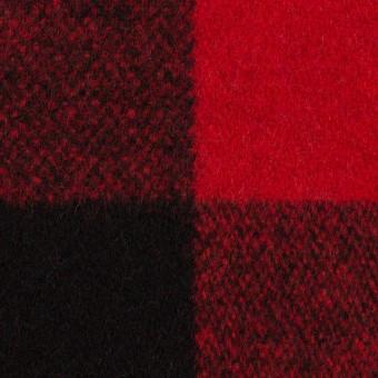 ウール×チェック(レッド&ブラック)×ツイード