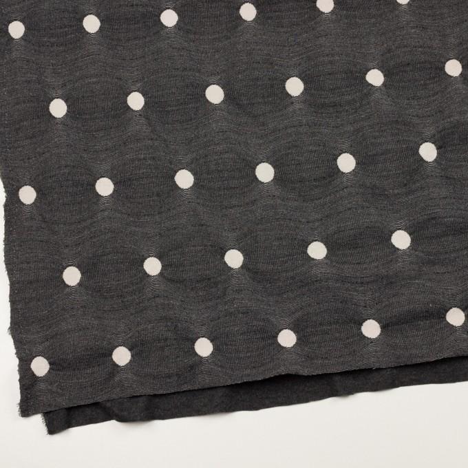 アクリル&ポリエステル混×水玉(チャコールグレー&アイボリー)×ジャガードニット イメージ2