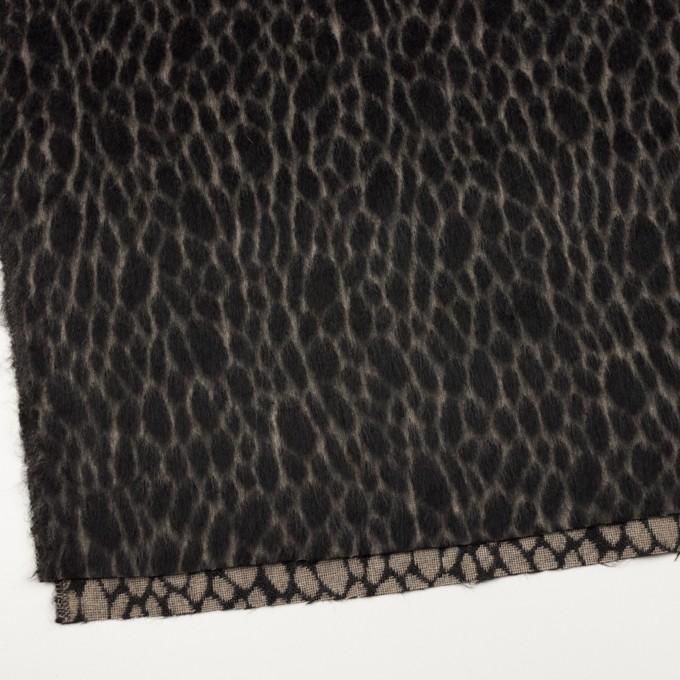 ウール×レオパード(ベージュ&チャコールブラック)×シャギー イメージ2