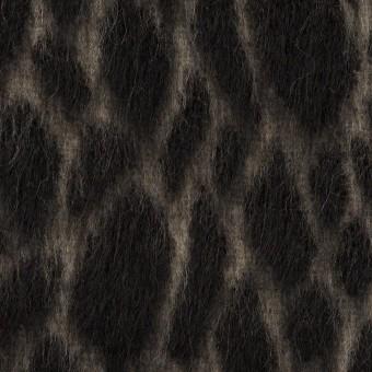 ウール×レオパード(ベージュ&チャコールブラック)×シャギー サムネイル1