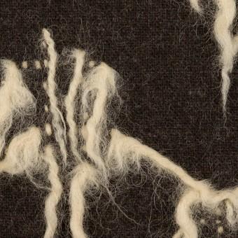 ウール×幾何学模様(ダークブラウン&キナリ)×ツイードジャガード サムネイル1