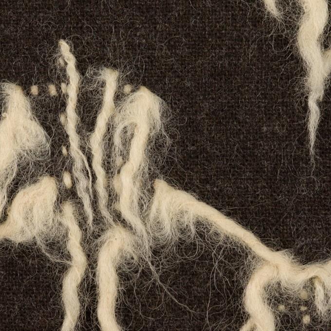 ウール×幾何学模様(ダークブラウン&キナリ)×ツイードジャガード イメージ1