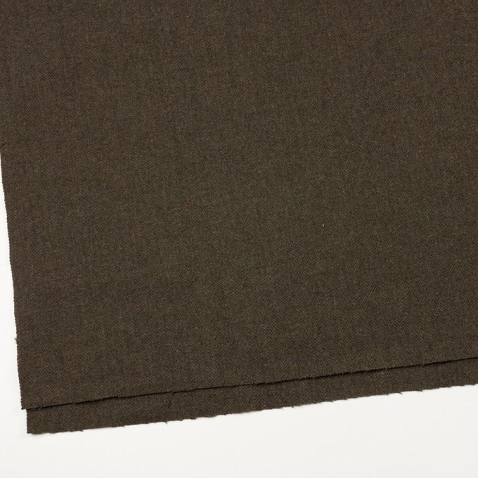 ウール&ナイロン×ミックス(カーキグリーン&ダークブラウン)×ヘリンボーン イメージ2