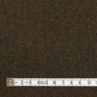 ウール&ナイロン×ミックス(カーキグリーン&ダークブラウン)×ヘリンボーン サムネイル4