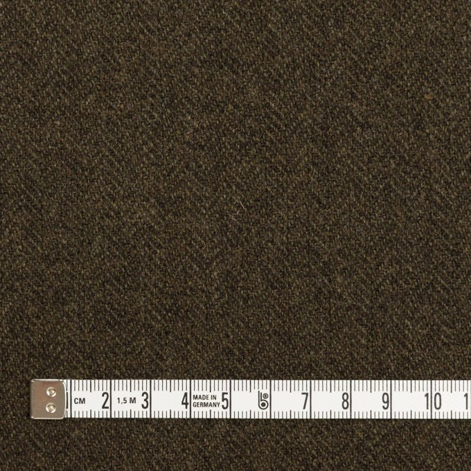 ウール&ナイロン×ミックス(カーキグリーン&ダークブラウン)×ヘリンボーン イメージ4