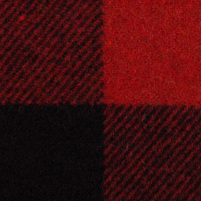 ウール×チェック(レッド&ブラック)×フラノ(フランネル) イメージ1