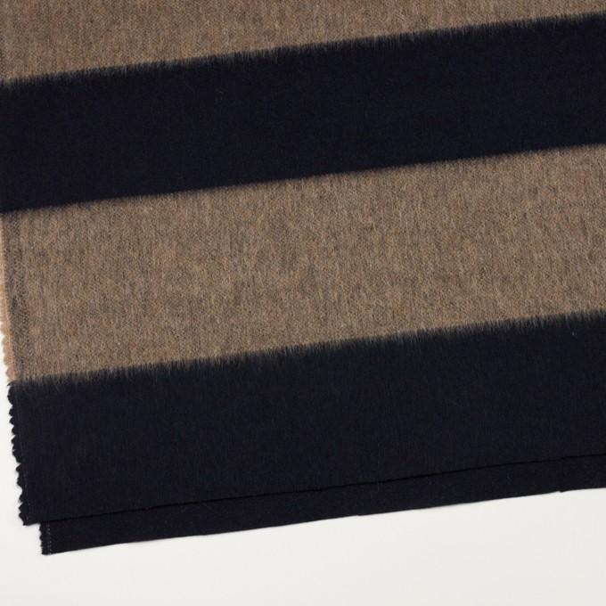 ウール&ポリエステル混×ボーダー(ベージュ&ネイビー)×シャギー イメージ2