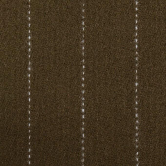 ウール×ストライプ(カーキブラウン)×ソフトメルトン イメージ1