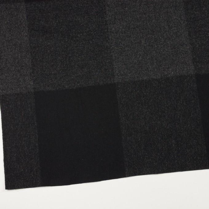 ウール×チェック(チャコールグレー&ブラック)×二重織_パネル イメージ2
