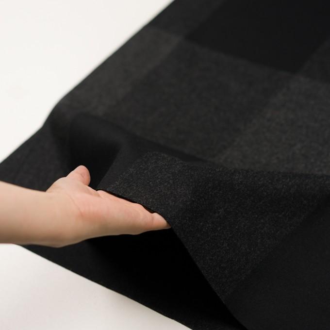 ウール×チェック(チャコールグレー&ブラック)×二重織_パネル イメージ5