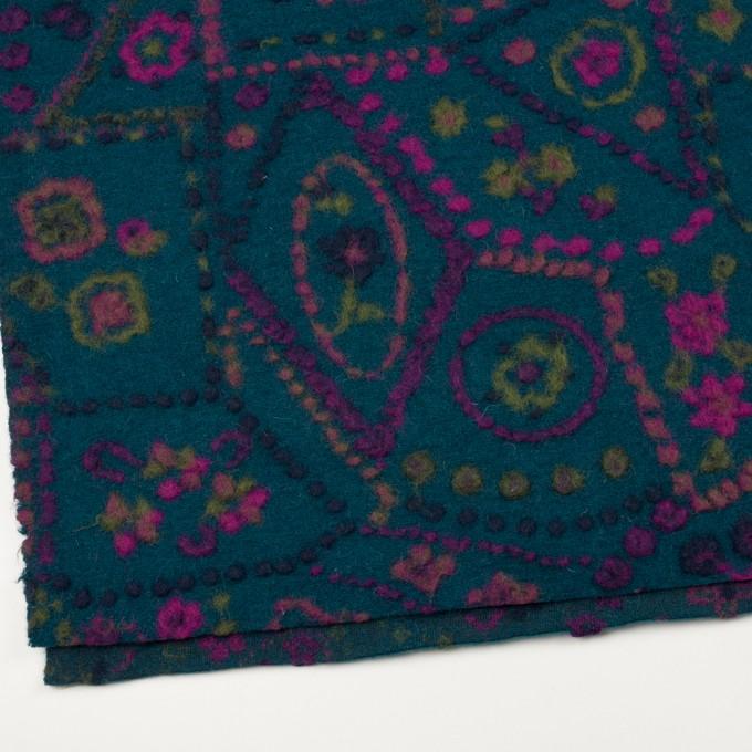 ウール×フラワー(バルビゾンブルー)×ジャガードニット_全3色_イタリア製 イメージ2