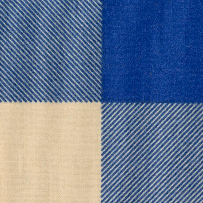 コットン×チェック(キナリ&ロイヤルブルー)×フランネル_全2色 イメージ1
