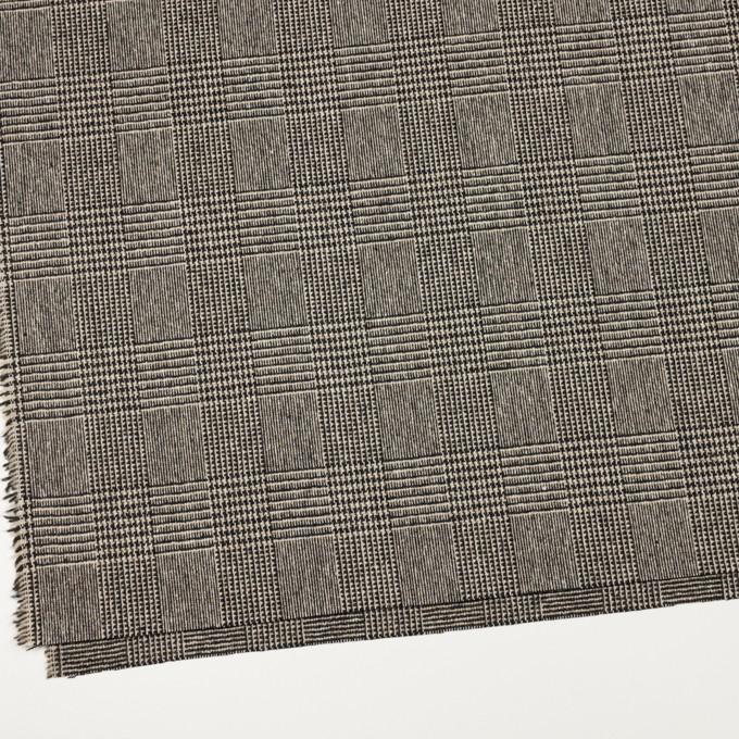ウール&ポリエステル混×チェック(ベージュ&ブラック)×ツイードストレッチ イメージ2