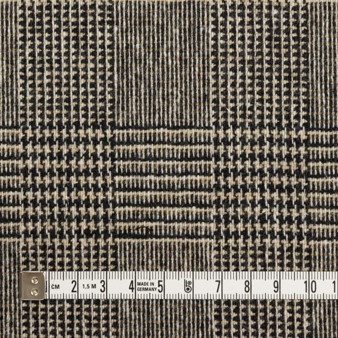 ウール&ポリエステル混×チェック(ベージュ&ブラック)×ツイードストレッチ イメージ4