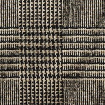 ウール&ポリエステル混×チェック(ベージュ&ブラック)×ツイードストレッチ サムネイル1