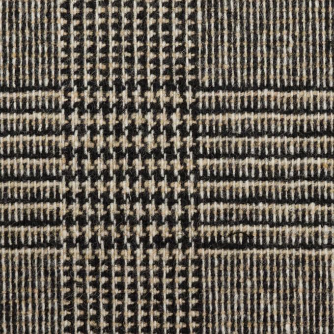 ウール&ポリエステル混×チェック(ベージュ&ブラック)×ツイードストレッチ イメージ1