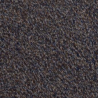 ウール×ミックス(グレー、ネイビー&ブラウン)×かわり編み