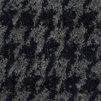 ウール&ナイロン×千鳥格子(グレー&ダークネイビー)×ループニット