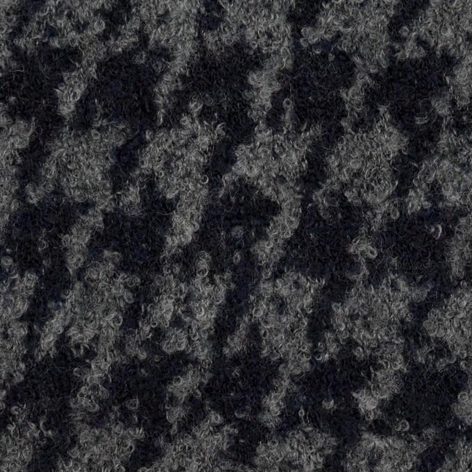 ウール&ナイロン×千鳥格子(グレー&ダークネイビー)×ループニット イメージ1
