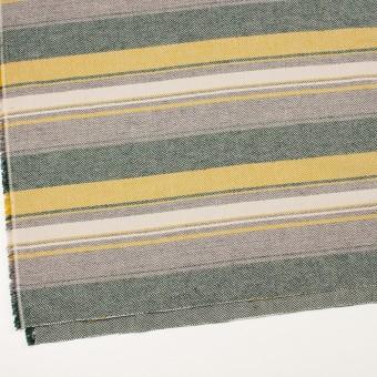 コットン×ボーダー(マスタード、グレー&モスグリーン)×ヘリンボーン_全3色 サムネイル2