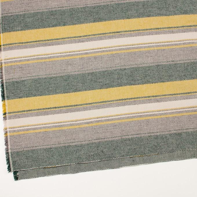 コットン×ボーダー(マスタード、グレー&モスグリーン)×ヘリンボーン_全3色 イメージ2