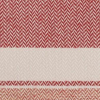 コットン×ボーダー(アイボリー、レッド&アガット)×ヘリンボーン_全3色