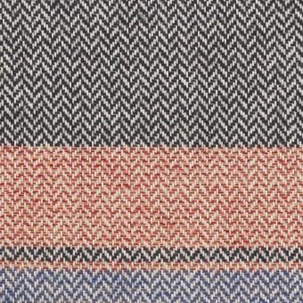 コットン×ボーダー(レッド、サックス&モスグリーン)×ヘリンボーン_全3色 サムネイル1