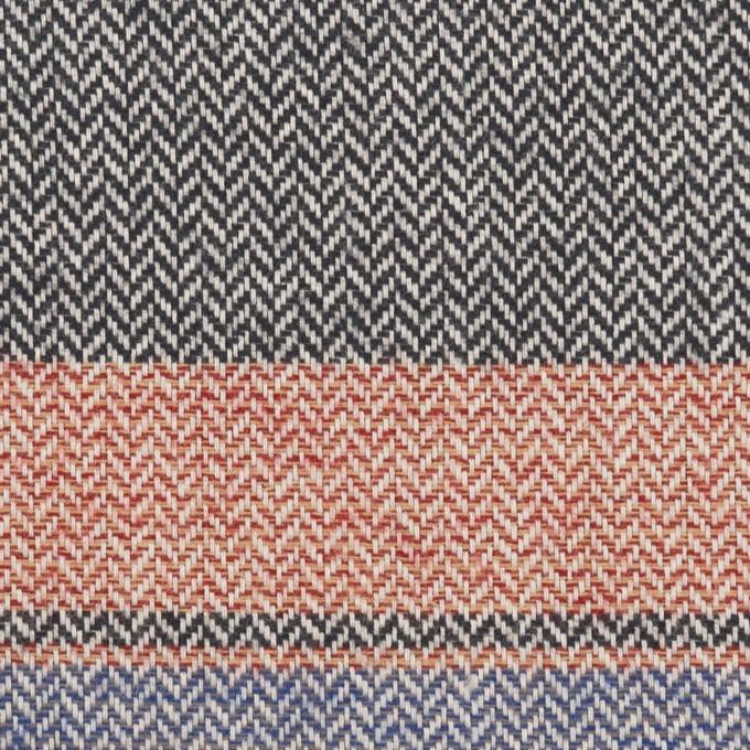 コットン×ボーダー(レッド、サックス&モスグリーン)×ヘリンボーン_全3色 イメージ1