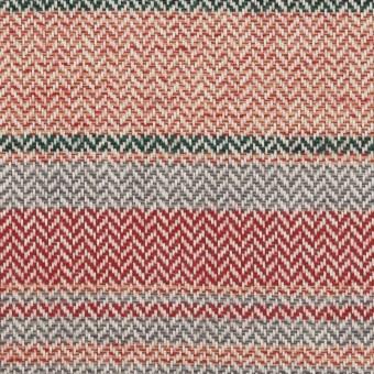 コットン×ボーダー(レッド、グレー&モスグリーン)×ヘリンボーン_全2色