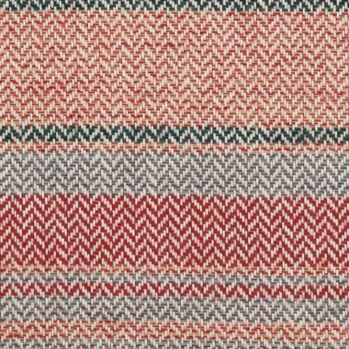 コットン×ボーダー(レッド、グレー&モスグリーン)×ヘリンボーン_全2色 イメージ1