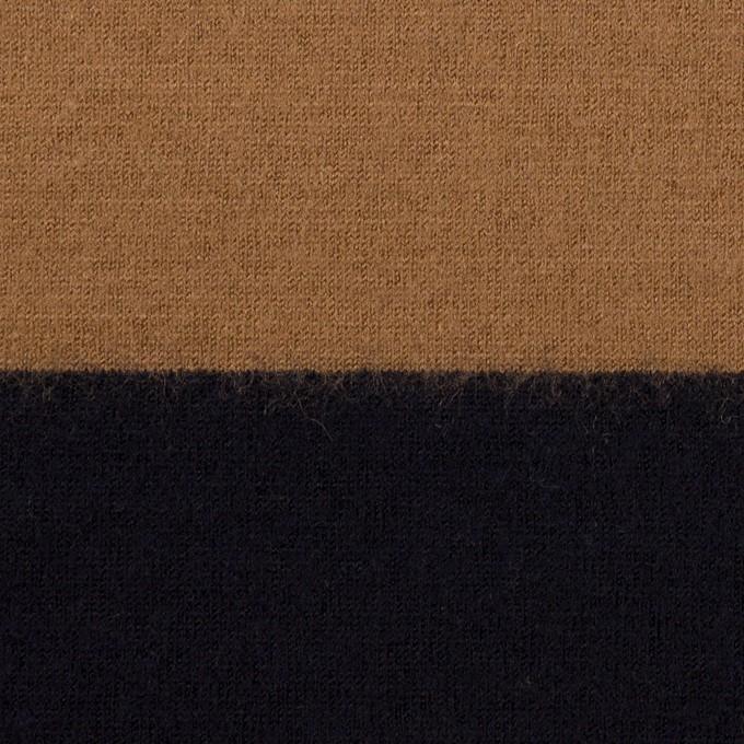ウール×ボーダー(オークル&ブラック)×天竺ニット イメージ1