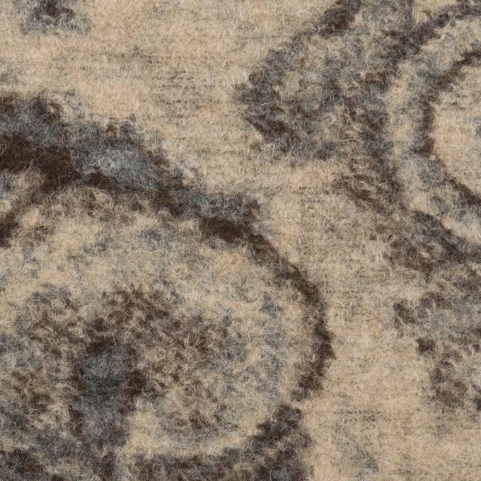 ウール&ナイロン×ペイズリー(ブルーグレー、ブラウン&ベージュ)×ジャガードニット イメージ1