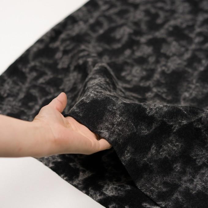 ウール×幾何学模様(ブラック&オフホワイト)×ジャガードニット_全2色 イメージ5