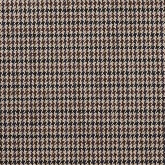ポリエステル&レーヨン混×チェック(ベージュ&ブラウン)×千鳥格子ストレッチ_全2色
