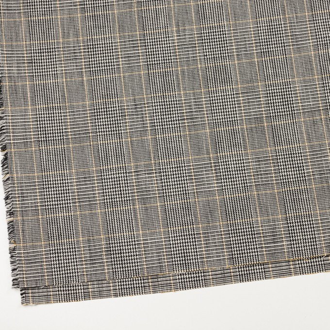 コットン&ウール×チェック(アイボリー&ブラック)×二重織_全2色 イメージ2