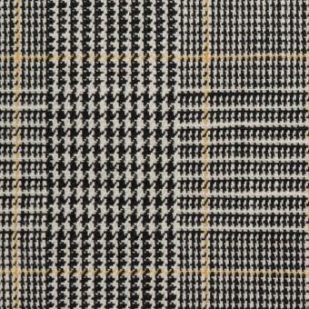 コットン&ウール×チェック(アイボリー&ブラック)×二重織_全2色 サムネイル1