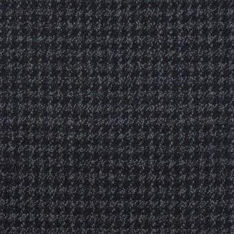 ウール&ポリウレタン×チェック(ダークネイビー&グレー)×千鳥格子ストレッチ