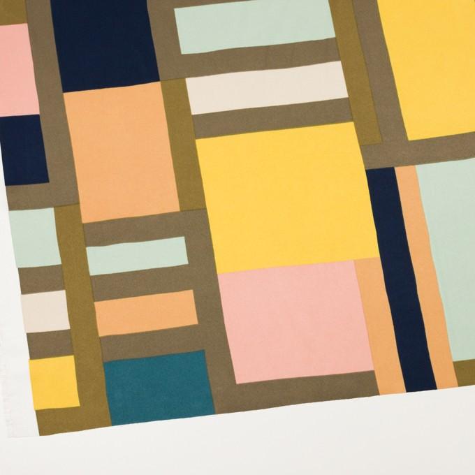 ポリエステル×幾何学模様(ピーチ&ペパーミント)×サテン_全2色_パネル イメージ2