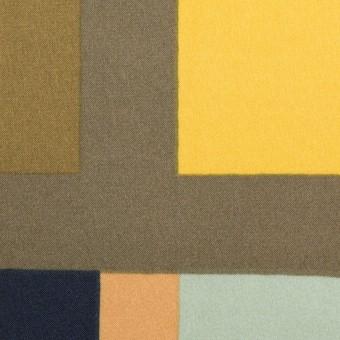 ポリエステル×幾何学模様(ピーチ&ペパーミント)×サテン_全2色_パネル サムネイル1