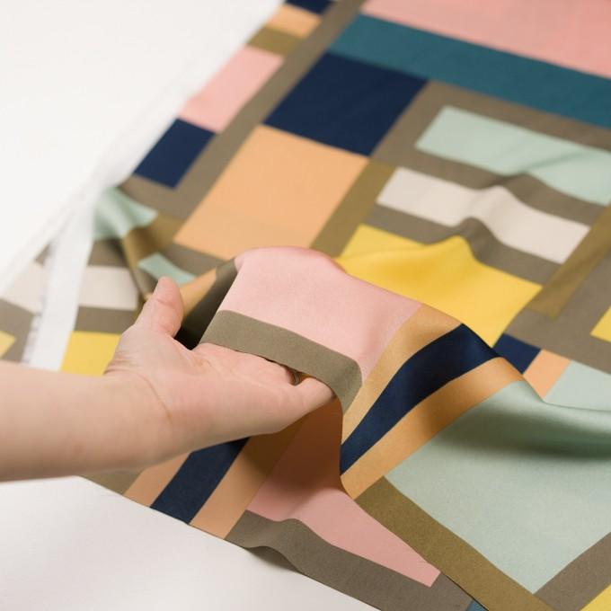 ポリエステル×幾何学模様(ピーチ&ペパーミント)×サテン_全2色_パネル イメージ5
