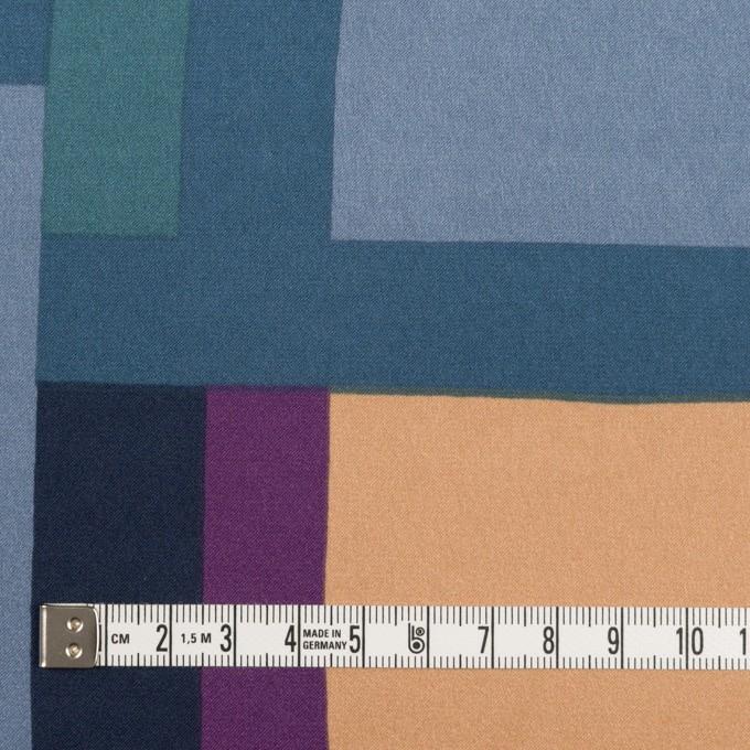 ポリエステル×幾何学模様(パープル&ブルーグレー)×サテン_全2色_パネル イメージ4