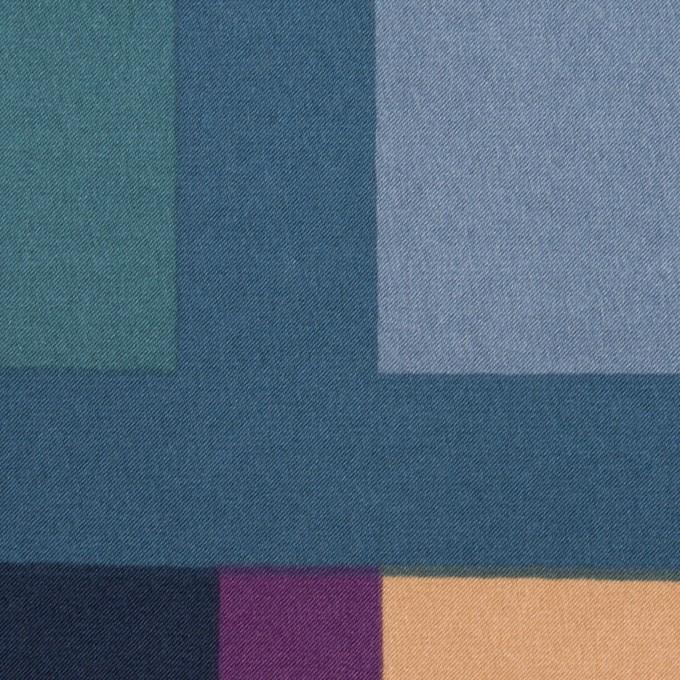 ポリエステル×幾何学模様(パープル&ブルーグレー)×サテン_全2色_パネル イメージ1