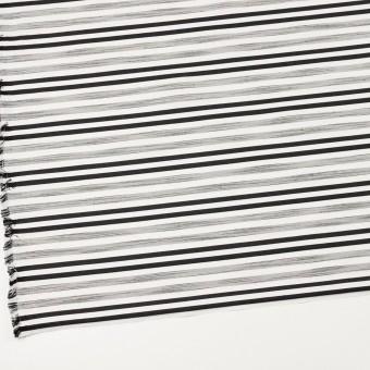 コットン&ポリエステル混×ボーダー(オフホワイト&チャコールブラック)×サージジャガード・ストレッチ_イタリア製 サムネイル2