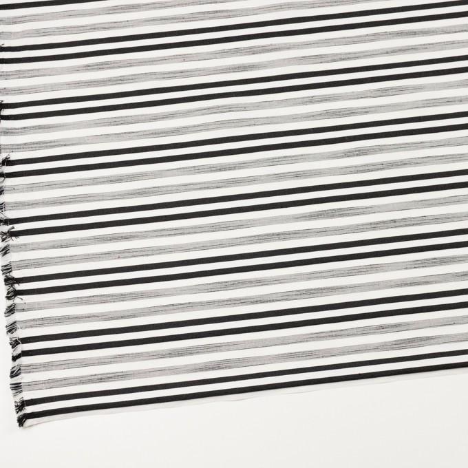 コットン&ポリエステル混×ボーダー(オフホワイト&チャコールブラック)×サージジャガード・ストレッチ_イタリア製 イメージ2