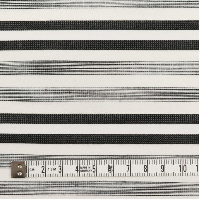 コットン&ポリエステル混×ボーダー(オフホワイト&チャコールブラック)×サージジャガード・ストレッチ_イタリア製 イメージ4